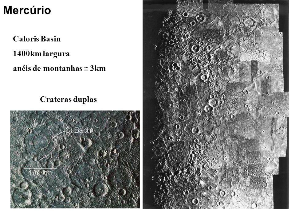 Caloris Basin 1400km largura anéis de montanhas 3km Crateras duplas Mercúrio