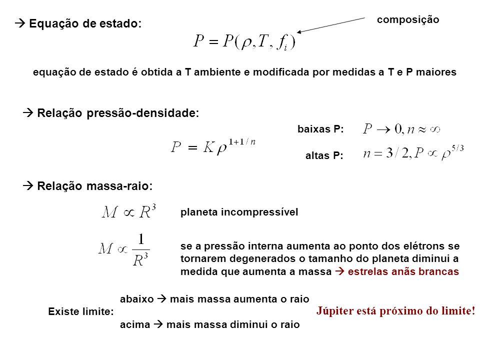 Equação de estado: composição equação de estado é obtida a T ambiente e modificada por medidas a T e P maiores Relação pressão-densidade: baixas P: al