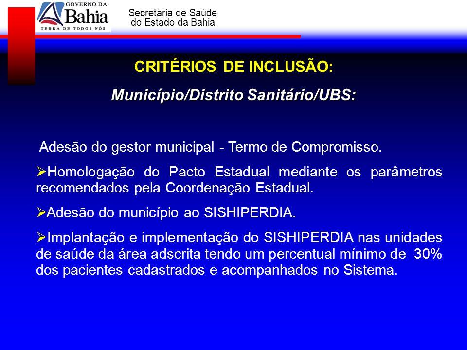 GOVERNO DA BAHIA Secretaria de Saúde do Estado da Bahia Adesão do gestor municipal - Termo de Compromisso. Homologação do Pacto Estadual mediante os p