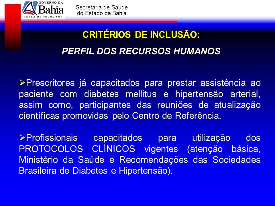 GOVERNO DA BAHIA Secretaria de Saúde do Estado da Bahia CRITÉRIOS DE INCLUSÃO: PERFIL DOS RECURSOS HUMANOS Prescritores já capacitados para prestar as