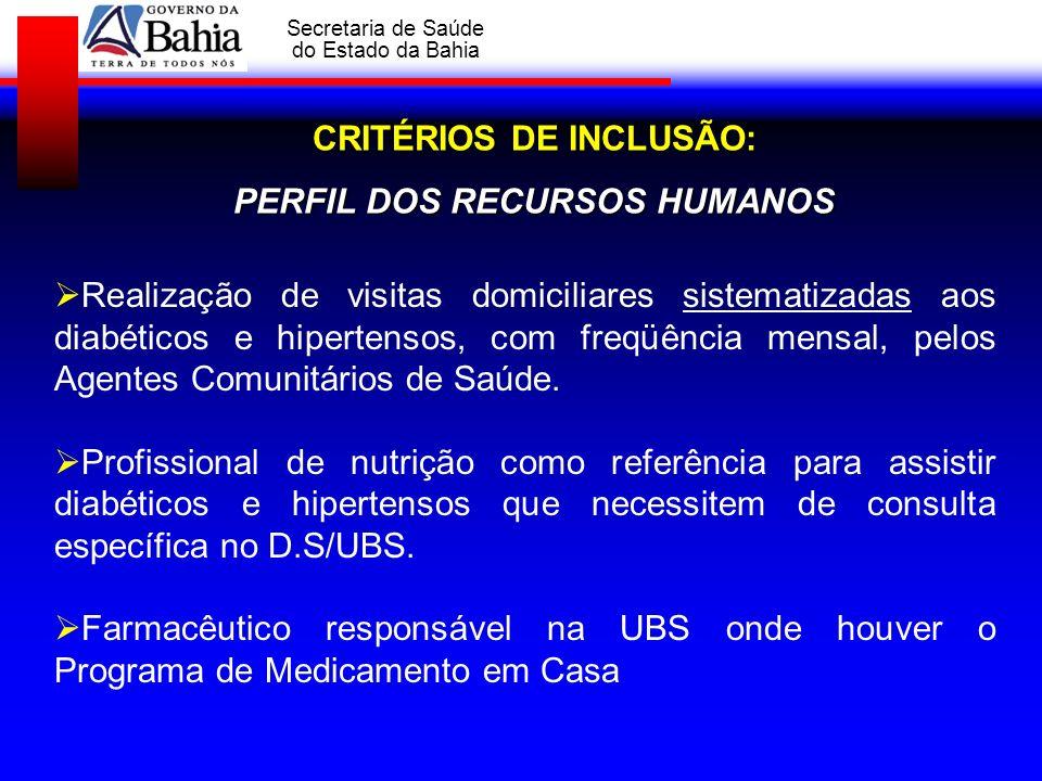 GOVERNO DA BAHIA Secretaria de Saúde do Estado da Bahia CRITÉRIOS DE INCLUSÃO: PERFIL DOS RECURSOS HUMANOS Realização de visitas domiciliares sistemat