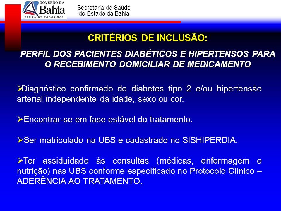 GOVERNO DA BAHIA Secretaria de Saúde do Estado da Bahia CRITÉRIOS DE INCLUSÃO: PERFIL DOS PACIENTES DIABÉTICOS E HIPERTENSOS PARA O RECEBIMENTO DOMICI