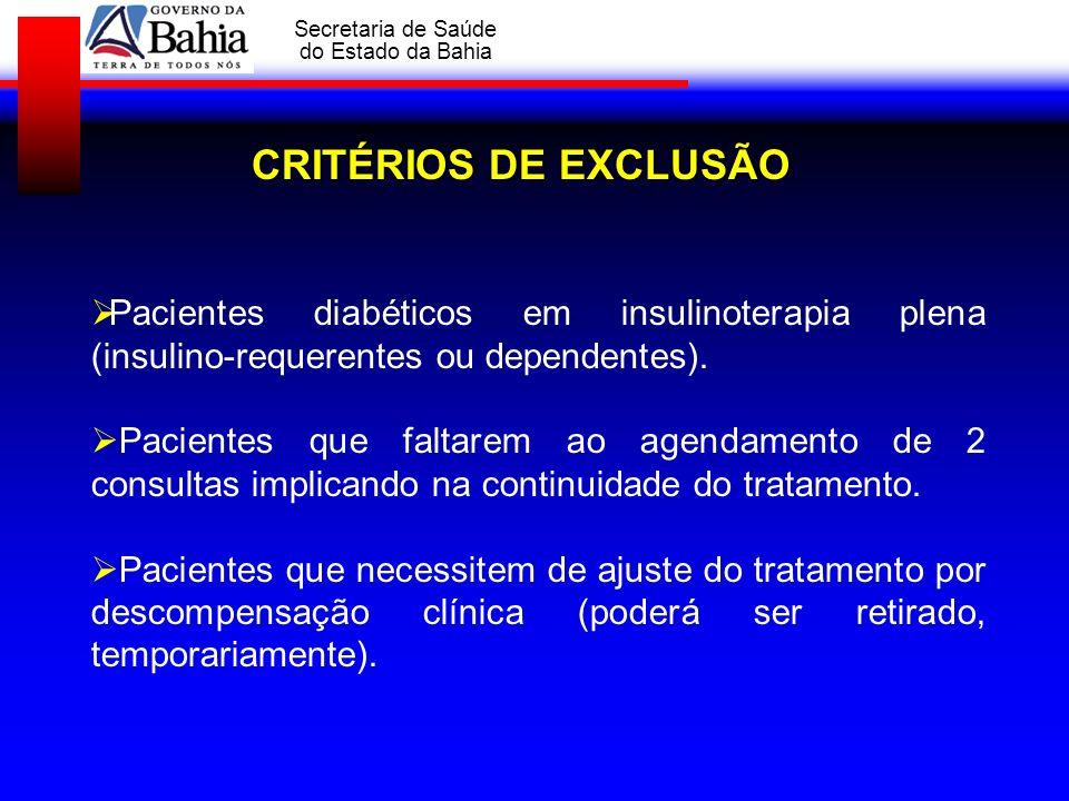 GOVERNO DA BAHIA Secretaria de Saúde do Estado da Bahia CRITÉRIOS DE EXCLUSÃO Pacientes diabéticos em insulinoterapia plena (insulino-requerentes ou d