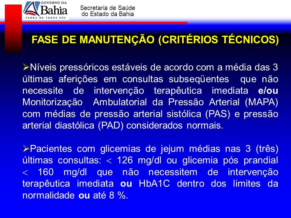 GOVERNO DA BAHIA Secretaria de Saúde do Estado da Bahia FASE DE MANUTENÇÃO (CRITÉRIOS TÉCNICOS) Níveis pressóricos estáveis de acordo com a média das