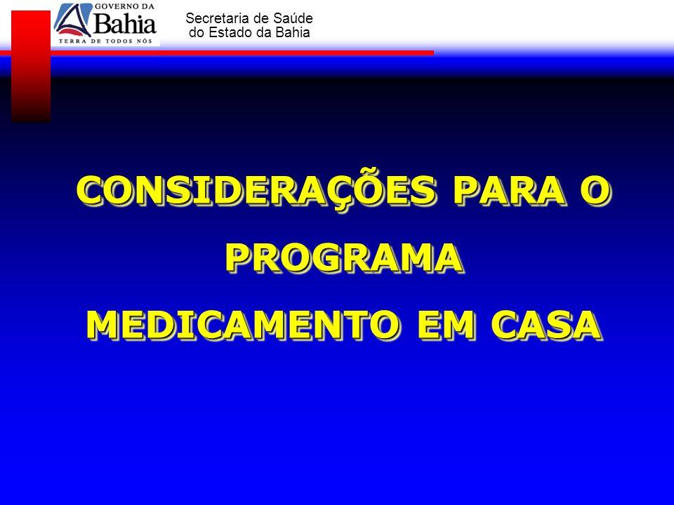 GOVERNO DA BAHIA Secretaria de Saúde do Estado da Bahia CONSIDERAÇÕES PARA O PROGRAMA MEDICAMENTO EM CASA CONSIDERAÇÕES PARA O PROGRAMA MEDICAMENTO EM