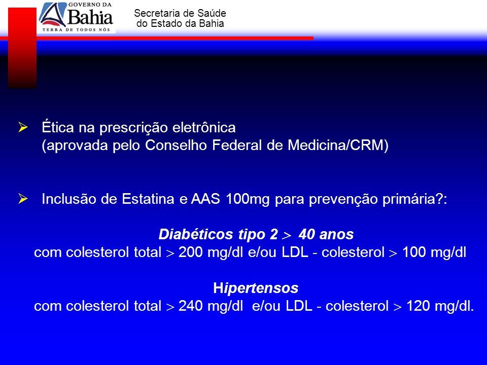 GOVERNO DA BAHIA Secretaria de Saúde do Estado da Bahia Ética na prescrição eletrônica (aprovada pelo Conselho Federal de Medicina/CRM) Inclusão de Es