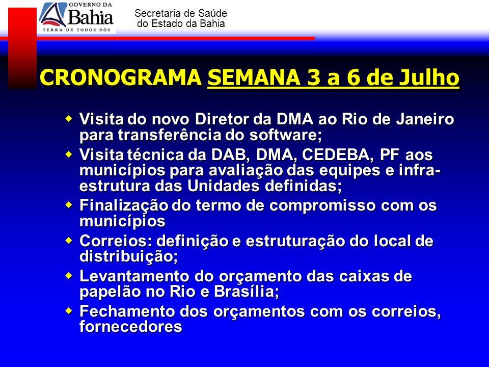 GOVERNO DA BAHIA Secretaria de Saúde do Estado da Bahia CRONOGRAMA SEMANA 3 a 6 de Julho Visita do novo Diretor da DMA ao Rio de Janeiro para transfer
