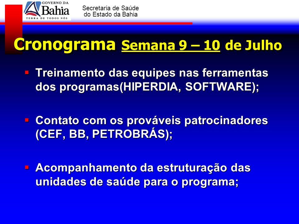 GOVERNO DA BAHIA Secretaria de Saúde do Estado da Bahia Cronograma Semana 9 – 10 de Julho Treinamento das equipes nas ferramentas dos programas(HIPERD