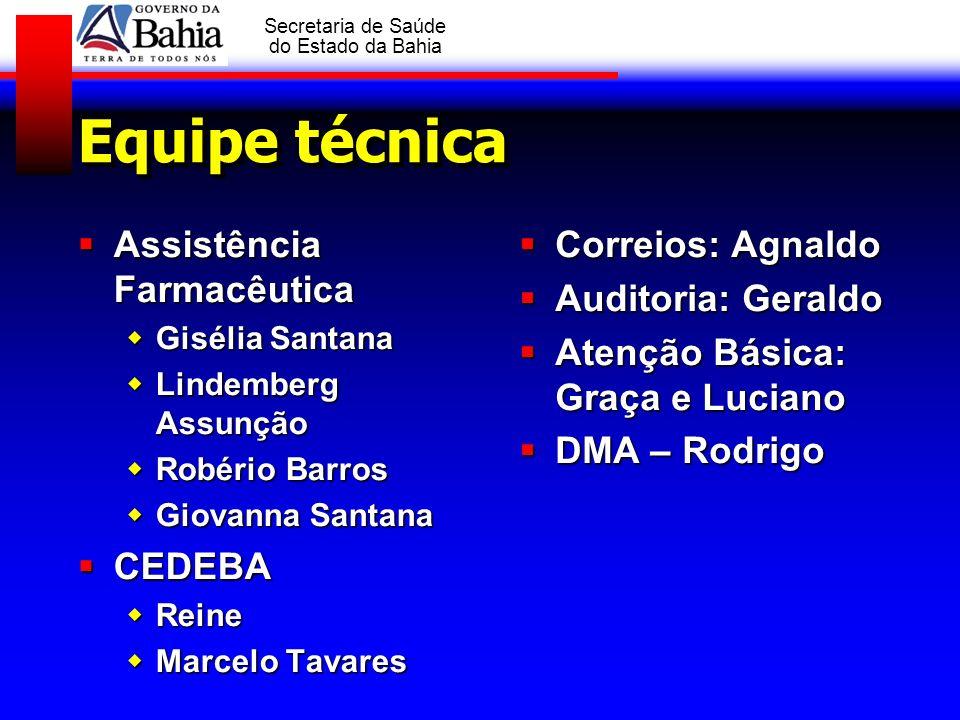 GOVERNO DA BAHIA Secretaria de Saúde do Estado da Bahia Equipe técnica Assistência Farmacêutica Assistência Farmacêutica Gisélia Santana Gisélia Santa