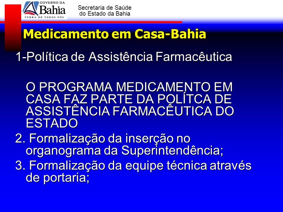 GOVERNO DA BAHIA Secretaria de Saúde do Estado da Bahia Medicamento em Casa-Bahia 1-Política de Assistência Farmacêutica O PROGRAMA MEDICAMENTO EM CAS