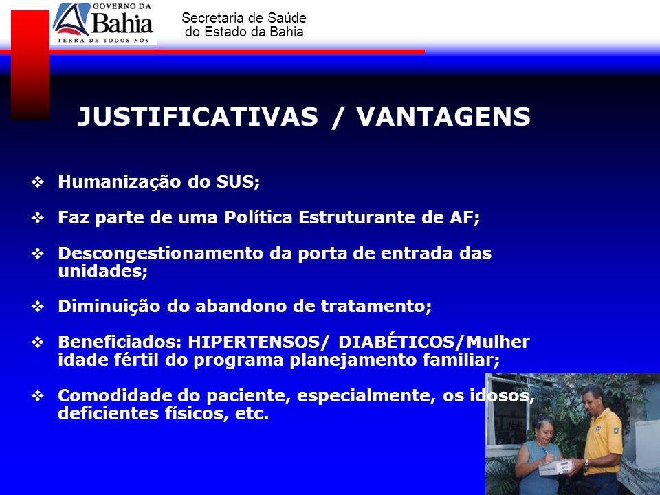 GOVERNO DA BAHIA Secretaria de Saúde do Estado da Bahia JUSTIFICATIVAS / VANTAGENS Humanização do SUS; Faz parte de uma Política Estruturante de AF; D