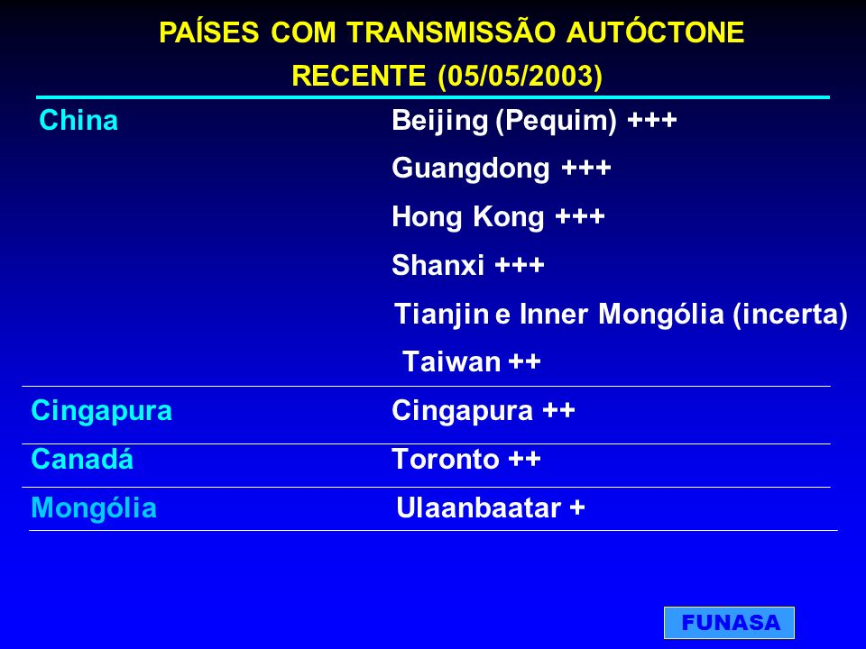 ChinaBeijing (Pequim) +++ Guangdong +++ Hong Kong +++ Shanxi +++ Tianjin e Inner Mongólia (incerta) Taiwan ++ CingapuraCingapura ++ CanadáToronto ++ M