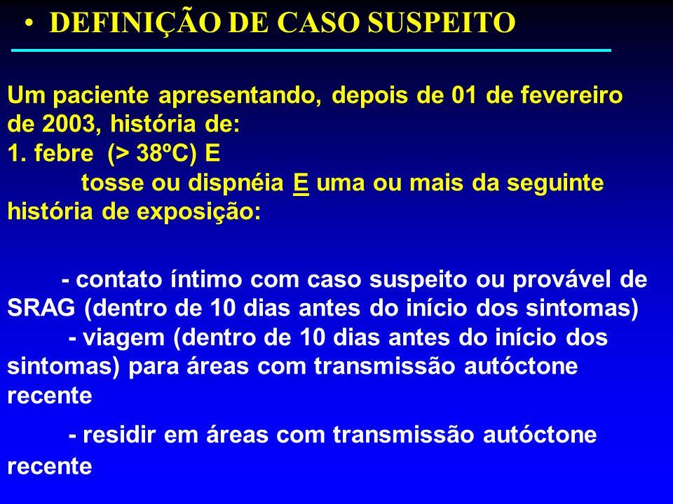 DEFINIÇÃO DE CASO SUSPEITO Um paciente apresentando, depois de 01 de fevereiro de 2003, história de: 1. febre (> 38ºC) E tosse ou dispnéia E uma ou ma