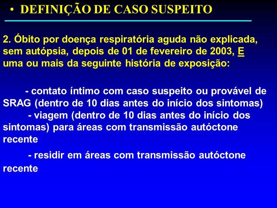 DEFINIÇÃO DE CASO SUSPEITO 2. Óbito por doença respiratória aguda não explicada, sem autópsia, depois de 01 de fevereiro de 2003, E uma ou mais da seg