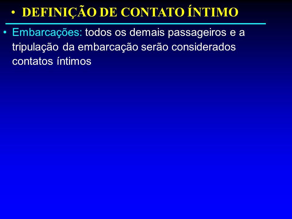 Embarcações: todos os demais passageiros e a tripulação da embarcação serão considerados contatos íntimos DEFINIÇÃO DE CONTATO ÍNTIMO