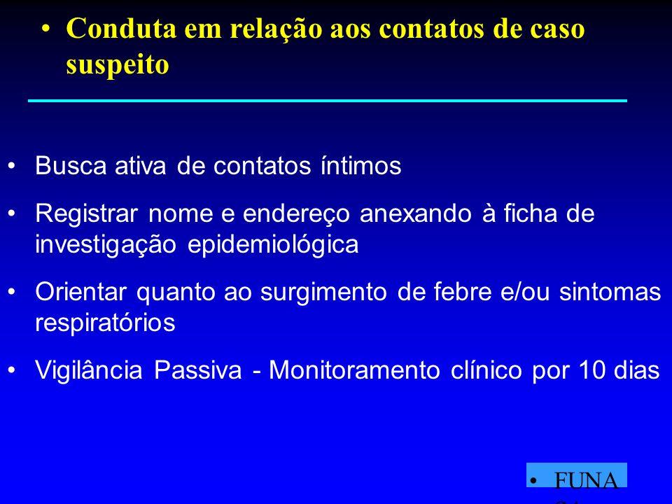 Busca ativa de contatos íntimos Registrar nome e endereço anexando à ficha de investigação epidemiológica Orientar quanto ao surgimento de febre e/ou