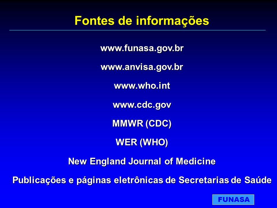 Fontes de informações www.funasa.gov.brwww.anvisa.gov.brwww.who.intwww.cdc.gov MMWR (CDC) WER (WHO) New England Journal of Medicine Publicações e pági