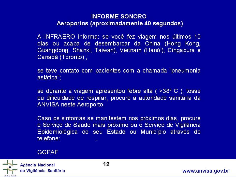 www.anvisa.gov.br Agência Nacional de Vigilância Sanitária 12