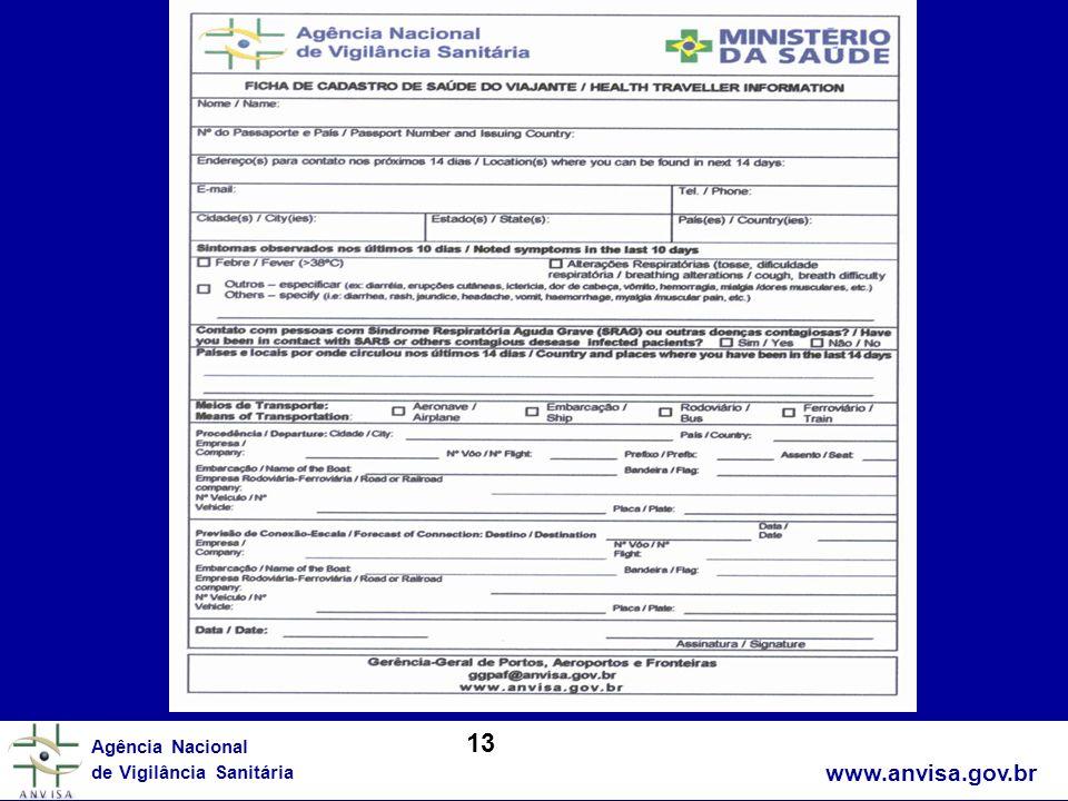 www.anvisa.gov.br Agência Nacional de Vigilância Sanitária 13