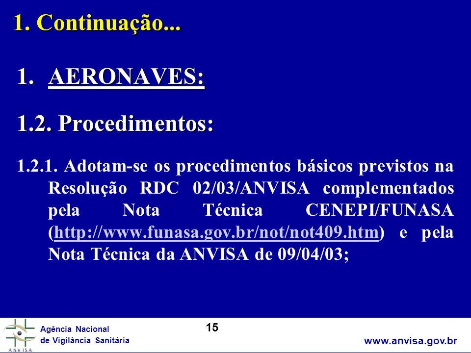 www.anvisa.gov.br Agência Nacional de Vigilância Sanitária 1. Continuação... 1.AERONAVES: 1.2. Procedimentos: 1.2.1. Adotam-se os procedimentos básico
