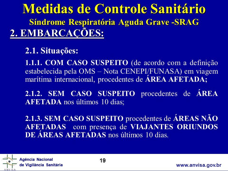 www.anvisa.gov.br Agência Nacional de Vigilância Sanitária Medidas de Controle Sanitário Síndrome Respiratória Aguda Grave -SRAG 2. EMBARCAÇÕES: 2.1.