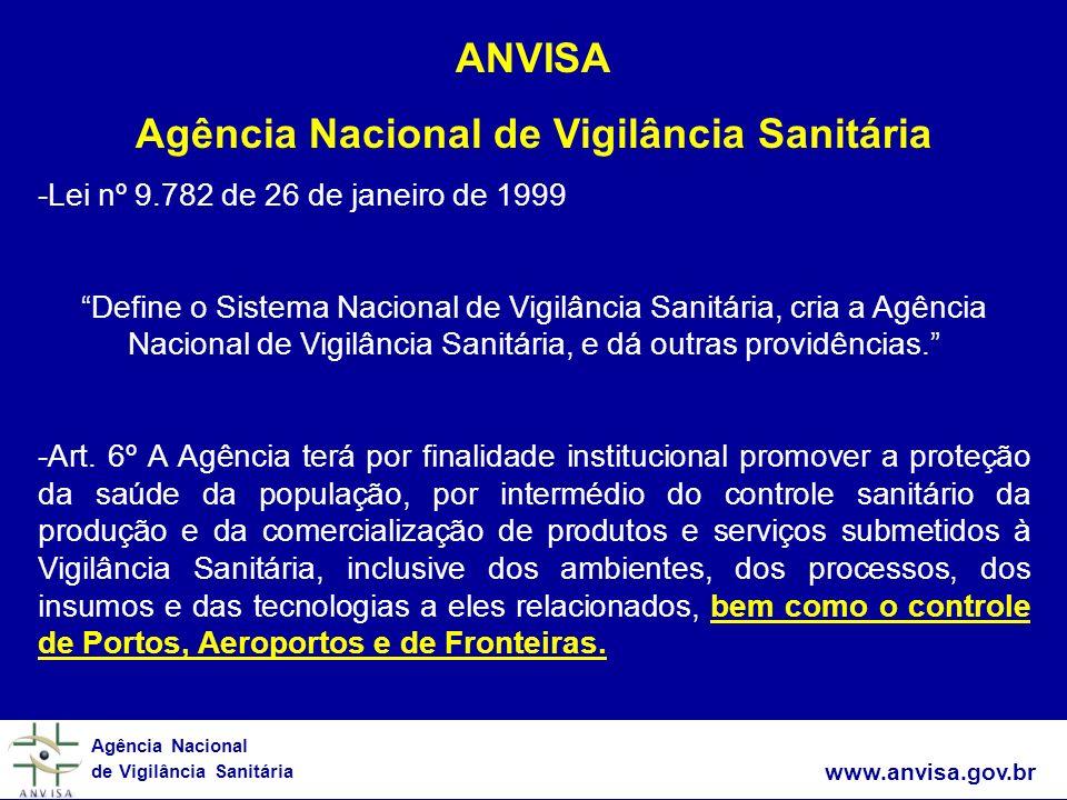www.anvisa.gov.br Agência Nacional de Vigilância Sanitária ANVISA Agência Nacional de Vigilância Sanitária -Lei nº 9.782 de 26 de janeiro de 1999 Defi