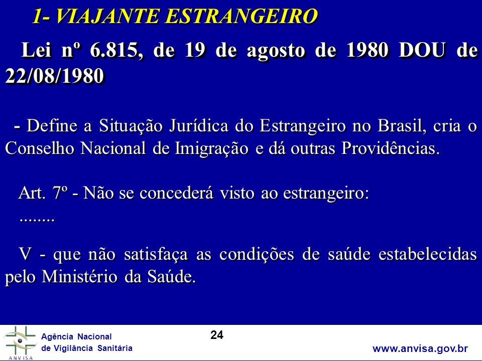 www.anvisa.gov.br Agência Nacional de Vigilância Sanitária 1- VIAJANTE ESTRANGEIRO Lei nº 6.815, de 19 de agosto de 1980 DOU de 22/08/1980 Lei nº 6.81