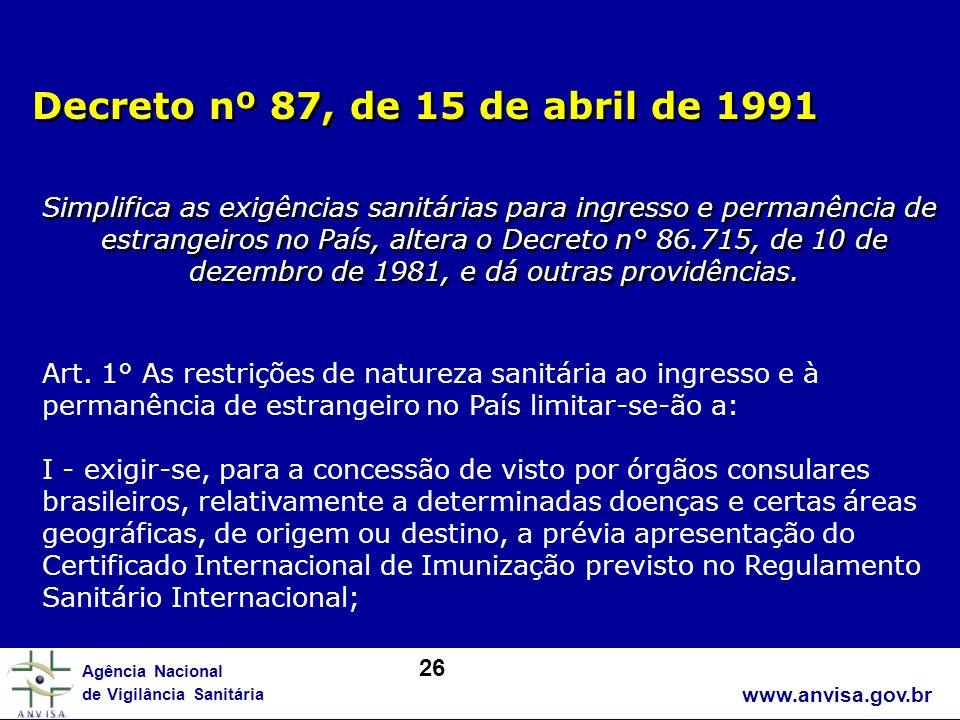 www.anvisa.gov.br Agência Nacional de Vigilância Sanitária Decreto nº 87, de 15 de abril de 1991 Simplifica as exigências sanitárias para ingresso e p