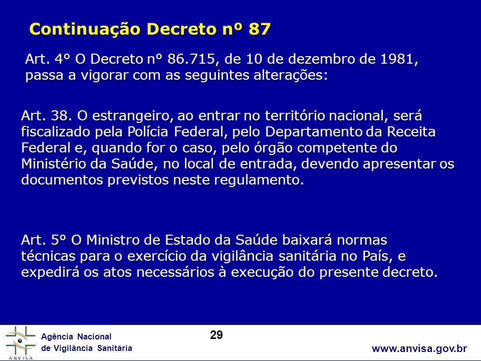 www.anvisa.gov.br Agência Nacional de Vigilância Sanitária Art. 4° O Decreto n° 86.715, de 10 de dezembro de 1981, passa a vigorar com as seguintes al
