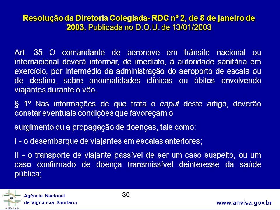 www.anvisa.gov.br Agência Nacional de Vigilância Sanitária Resolução da Diretoria Colegiada- RDC nº 2, de 8 de janeiro de 2003. Publicada no D.O.U. de