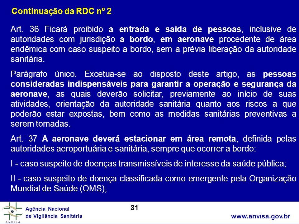 www.anvisa.gov.br Agência Nacional de Vigilância Sanitária Art. 36 Ficará proibido a entrada e saída de pessoas, inclusive de autoridades com jurisdiç