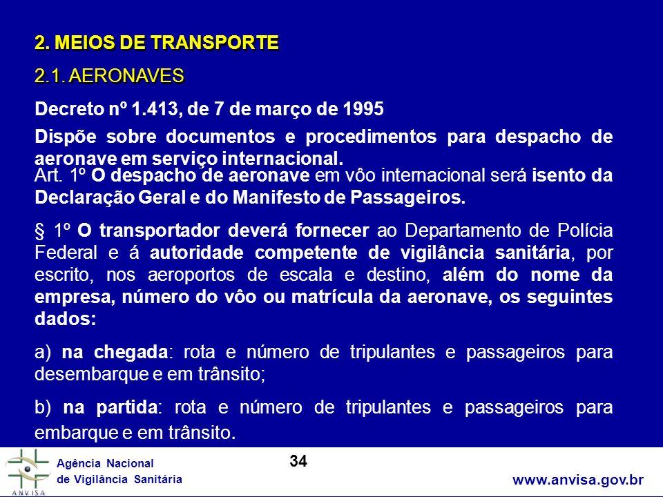 www.anvisa.gov.br Agência Nacional de Vigilância Sanitária 2. MEIOS DE TRANSPORTE 2.1. AERONAVES 2. MEIOS DE TRANSPORTE 2.1. AERONAVES Decreto nº 1.41