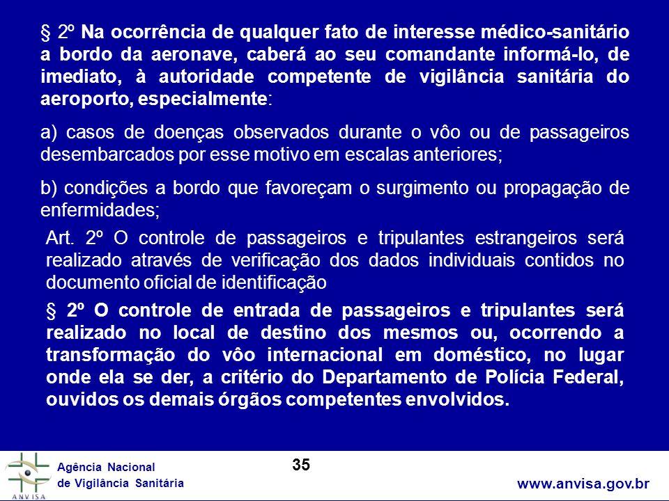 www.anvisa.gov.br Agência Nacional de Vigilância Sanitária § 2º Na ocorrência de qualquer fato de interesse médico-sanitário a bordo da aeronave, cabe