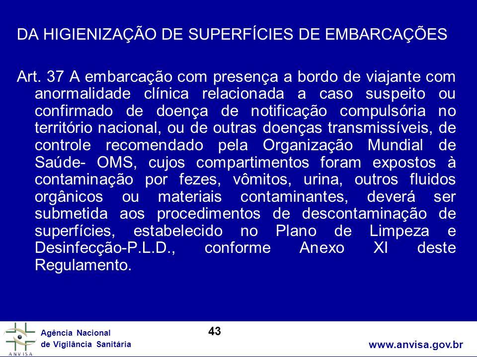 www.anvisa.gov.br Agência Nacional de Vigilância Sanitária DA HIGIENIZAÇÃO DE SUPERFÍCIES DE EMBARCAÇÕES Art. 37 A embarcação com presença a bordo de