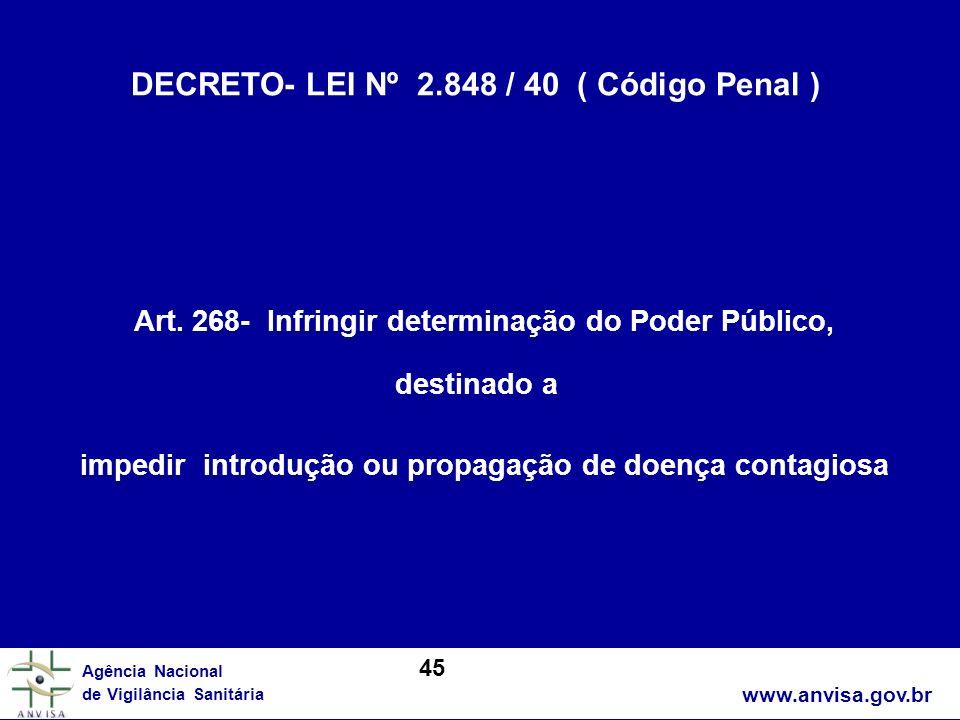 www.anvisa.gov.br Agência Nacional de Vigilância Sanitária DECRETO- LEI Nº 2.848 / 40 ( Código Penal ) Art. 268- Infringir determinação do Poder Públi