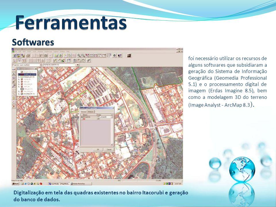 Digitalização em tela das quadras existentes no bairro Itacorubi e geração do banco de dados.