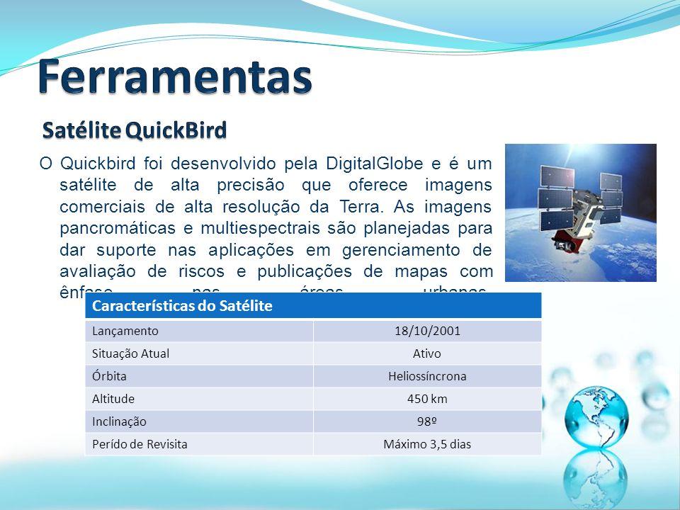 O Quickbird foi desenvolvido pela DigitalGlobe e é um satélite de alta precisão que oferece imagens comerciais de alta resolução da Terra.