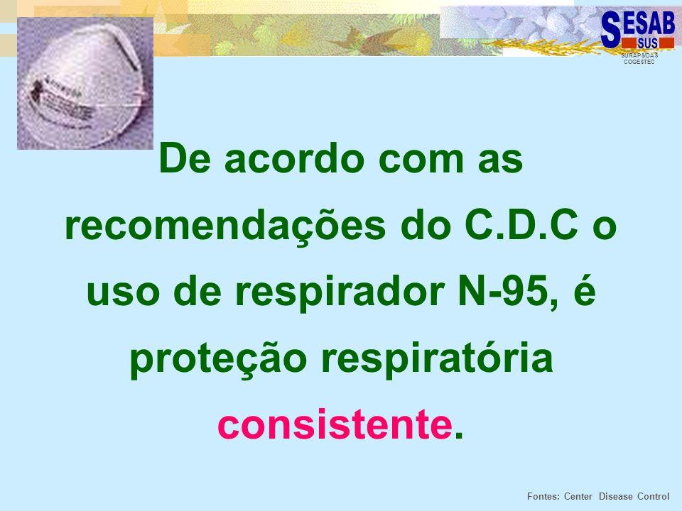 SURAPS/DAS COGESTEC De acordo com as recomendações do C.D.C o uso de respirador N-95, é proteção respiratória consistente. Fontes: Center Disease Cont
