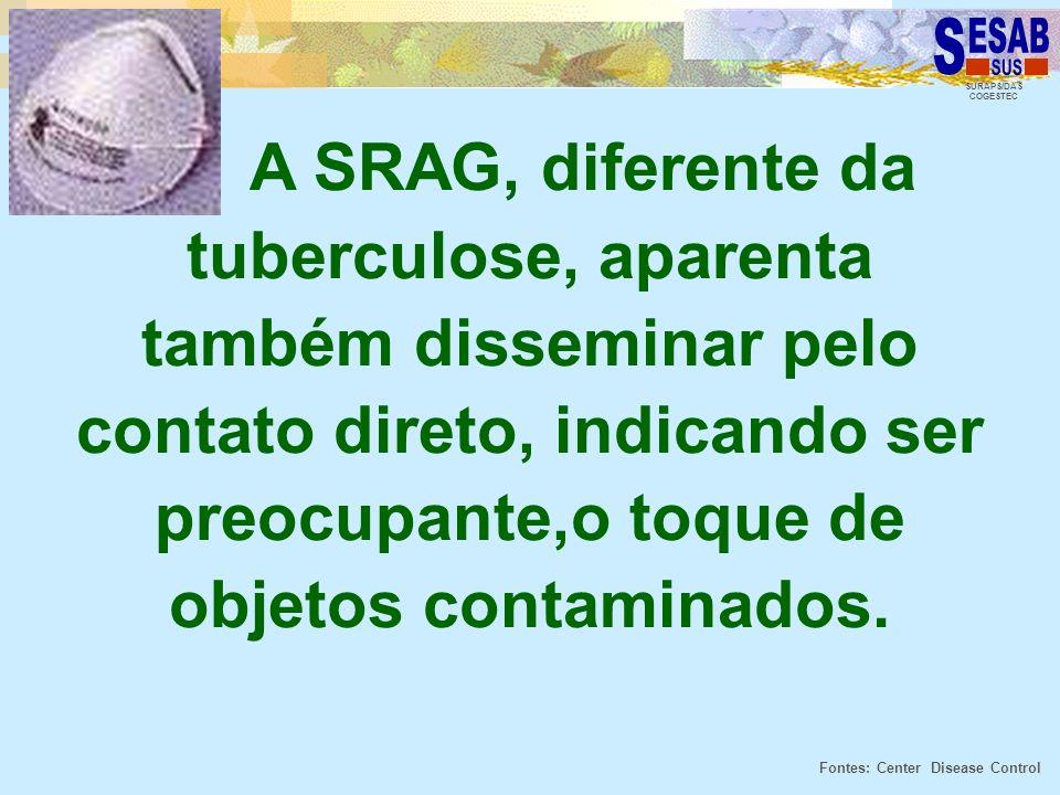 SURAPS/DAS COGESTEC A SRAG, diferente da tuberculose, aparenta também disseminar pelo contato direto, indicando ser preocupante,o toque de objetos con