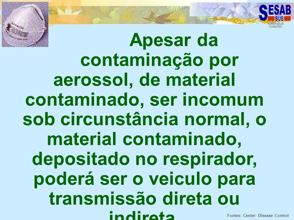 SURAPS/DAS COGESTEC Apesar da contaminação por aerossol, de material contaminado, ser incomum sob circunstância normal, o material contaminado, deposi
