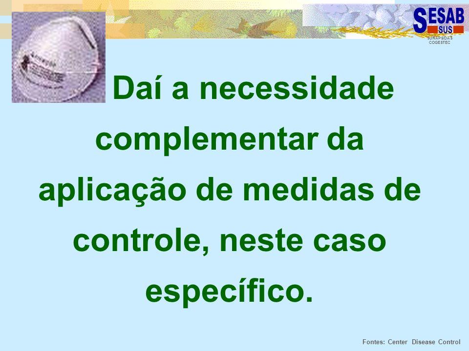 SURAPS/DAS COGESTEC Daí a necessidade complementar da aplicação de medidas de controle, neste caso específico. Fontes: Center Disease Control