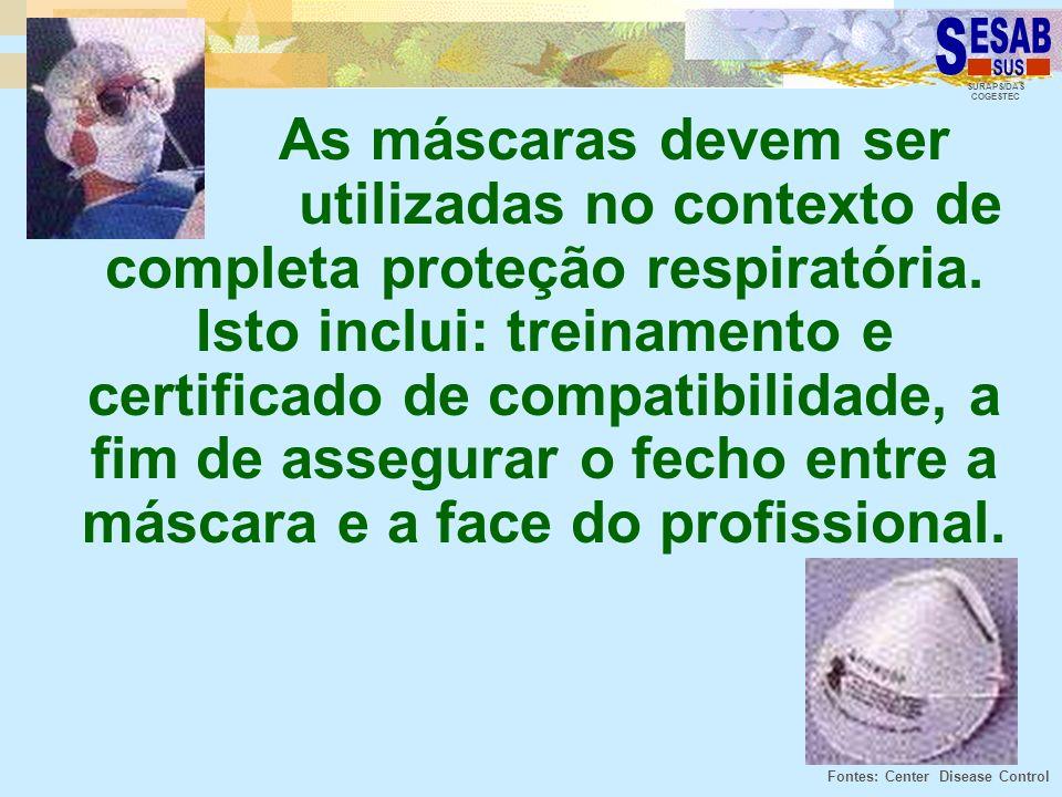 SURAPS/DAS COGESTEC As máscaras devem ser utilizadas no contexto de completa proteção respiratória. Isto inclui: treinamento e certificado de compatib