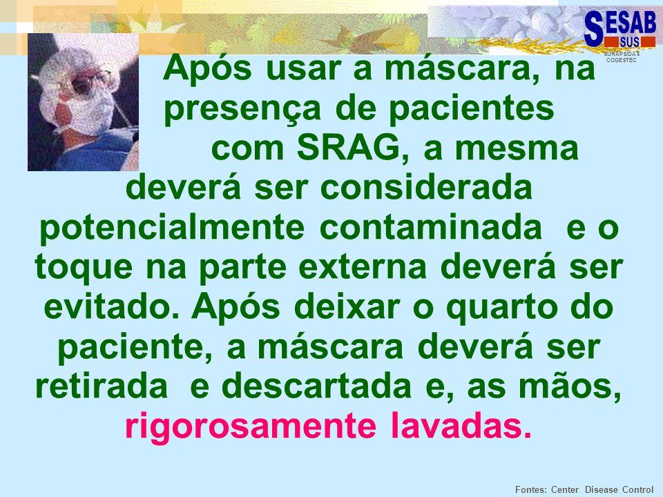 SURAPS/DAS COGESTEC Após usar a máscara, na presença de pacientes com SRAG, a mesma deverá ser considerada potencialmente contaminada e o toque na par