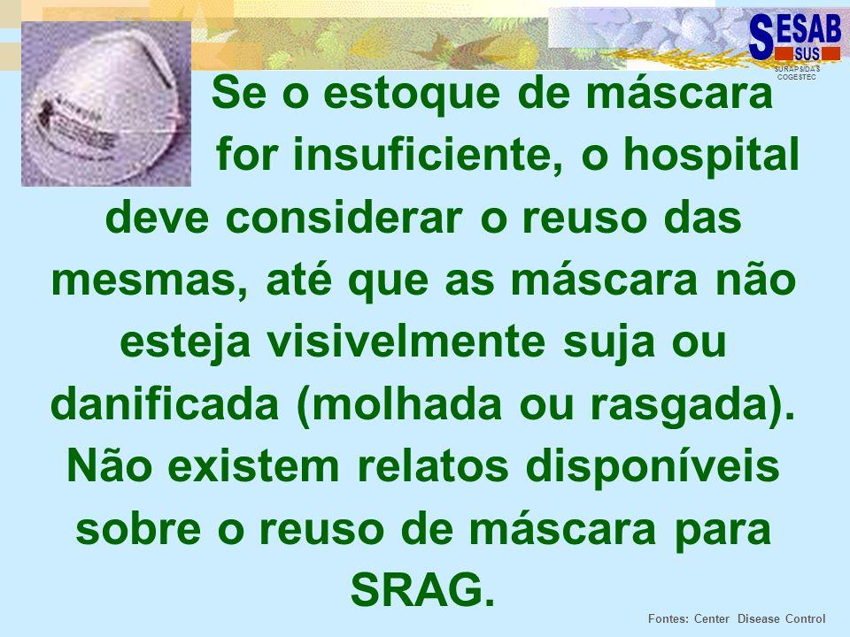 SURAPS/DAS COGESTEC Se o estoque de máscara for insuficiente, o hospital deve considerar o reuso das mesmas, até que as máscara não esteja visivelment
