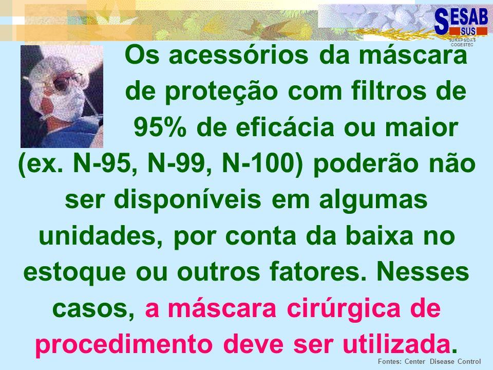 SURAPS/DAS COGESTEC Os acessórios da máscara de proteção com filtros de 95% de eficácia ou maior (ex. N-95, N-99, N-100) poderão não ser disponíveis e