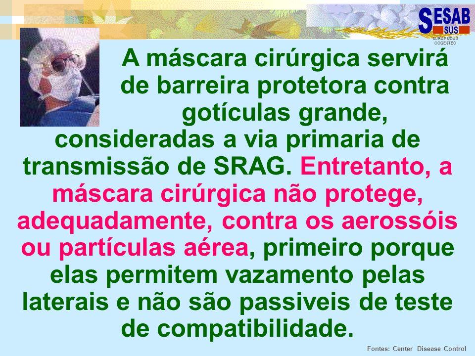 SURAPS/DAS COGESTEC A máscara cirúrgica servirá de barreira protetora contra gotículas grande, consideradas a via primaria de transmissão de SRAG. Ent