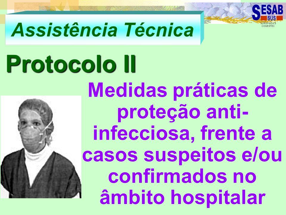 SURAPS/DAS COGESTEC Assistência Técnica Protocolo II Medidas práticas de proteção anti- infecciosa, frente a casos suspeitos e/ou confirmados no âmbit