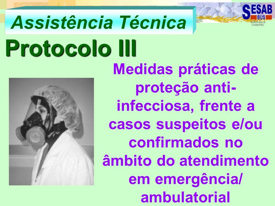 SURAPS/DAS COGESTEC Assistência Técnica Protocolo III Medidas práticas de proteção anti- infecciosa, frente a casos suspeitos e/ou confirmados no âmbi