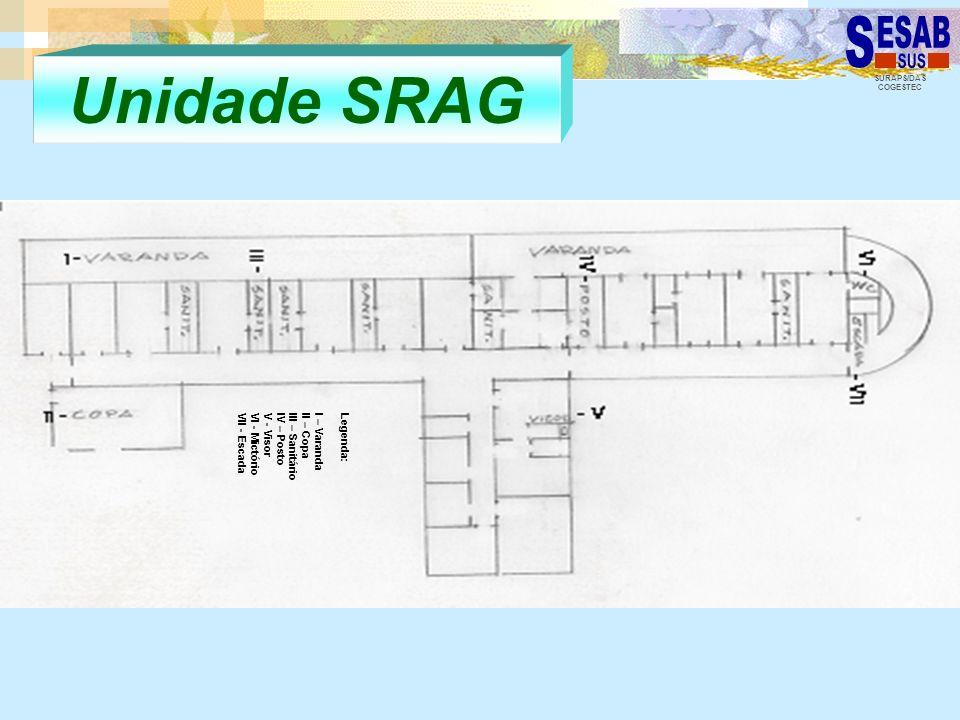 SURAPS/DAS COGESTEC Unidade SRAG Legenda: I – Varanda II – Copa III – Sanitário IV – Posto V - Visor VI - Mictório VII - Escada