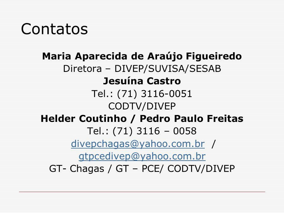 Contatos Maria Aparecida de Araújo Figueiredo Diretora – DIVEP/SUVISA/SESAB Jesuína Castro Tel.: (71) 3116-0051 CODTV/DIVEP Helder Coutinho / Pedro Pa